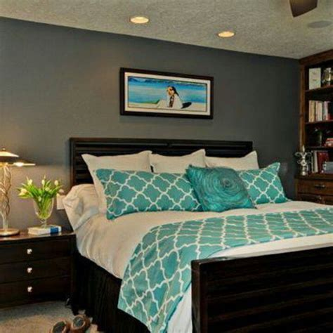 teal feature wall bedroom gray walls teal accent yes like this combo now to