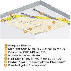 Placo Phonique Plafond by Plafond Placostil 174 Sur Montants Stil 174 Avec 2 Plaques Placo