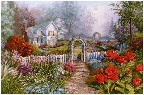 Cottage Garden Paintings by Jan S Garden Cottage Painting By Judy Sleight
