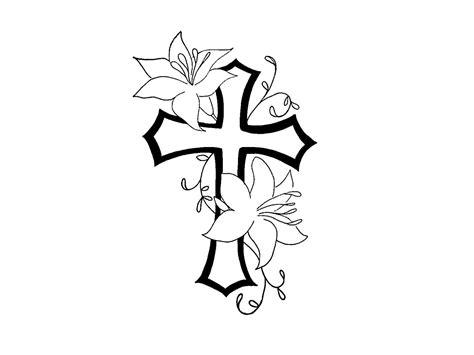 tattoo online zeichnen lassen cross tattoos free designs cross with flower contour