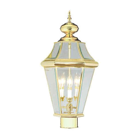 polished brass outdoor post lights georgetown polished brass three light outdoor fixture