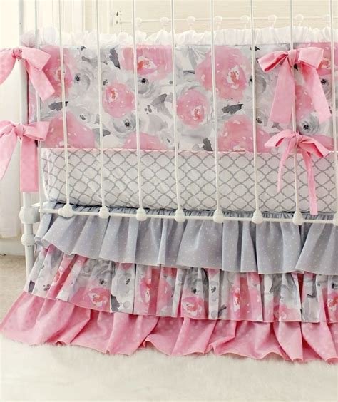 pink and gray crib bedding sets pink gray fawn baby bedding set girls pink deer woodland nursery