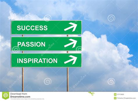 inspiration for success passion and inspiration on green road sign stock