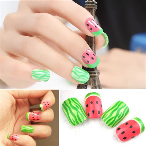 patterned fake nails cute watermelon pattern false artificial fake nails tips