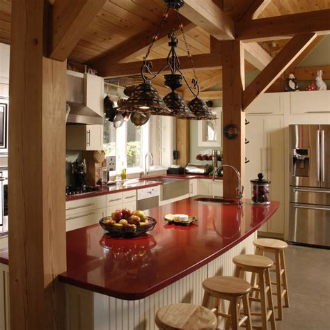 kitchen island with post residence post and beam addition contemporary