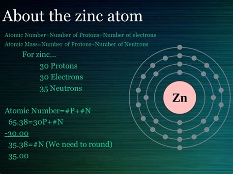 Weight Of Protons Neutrons And Electrons by Zn Atomic Number 30 Atomic Mass By Mr Doherty Ppt