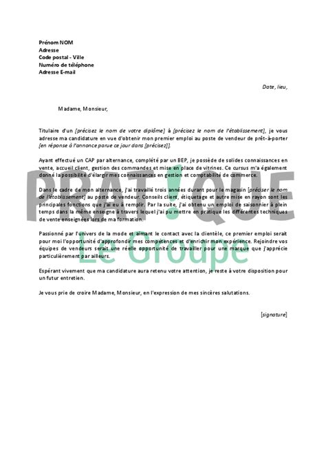 Lettre De Motivation Vendeuse Week End Lettre De Motivation Pour Un Emploi De Vente En Pr 234 T 224 Porter D 233 Butant Pratique Fr