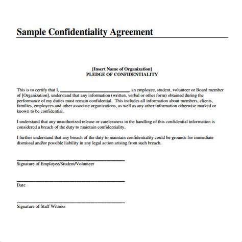 Printable Sample Non Disclosure top 4 formats of confidentiality agreement templates