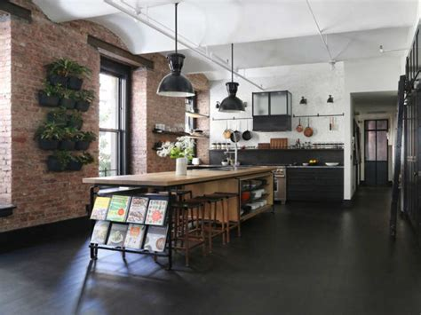 Industrial Loft With Exposed Brick Walls And Black Wood DigsDigs