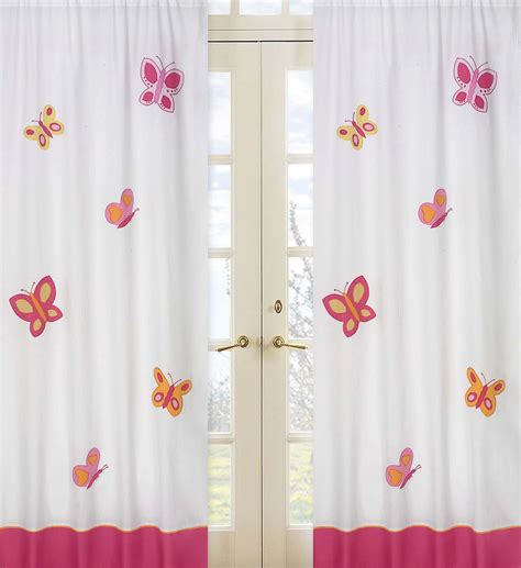 Pink And Orange Curtains Sweet Jojo Designs Butterfly Pink And Orange Collection Window Panels Baby Nursery Decor