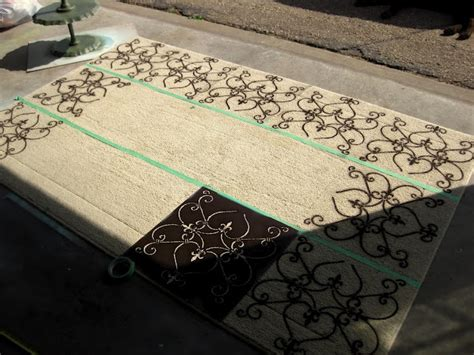 diy painted rug stencil spray paint a stencil on the rug diy home decor