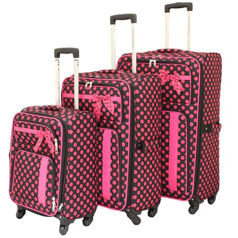 Set My Trip Polkadot american green travel polka dot 3 spinner luggage set black pink