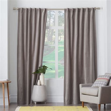 pole pocket drapes velvet pole pocket curtain dove gray west elm