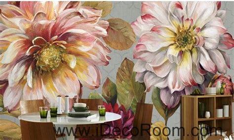 vintage large flower leaves idcwp  wallpaper wall