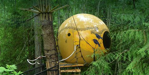 free spirit spheres suspended spherical treehouses