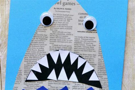 Light Crafts For Kids - newspaper shark craft project thrifty momma ramblings
