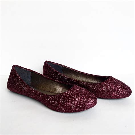 burgundy flat shoes burgundy flats glitter shoes maroon ballet