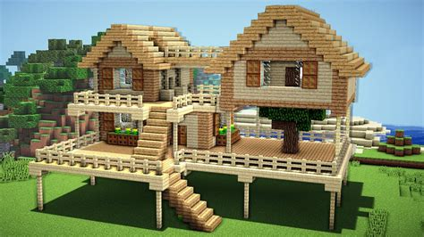 houses on minecraft minecraft survival house tutorial how to build a house in minecraft youtube