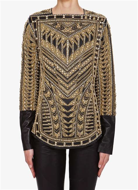Wst 14197 Black Embroidered Blouse balmain s gold embroidered blouse upscalehype