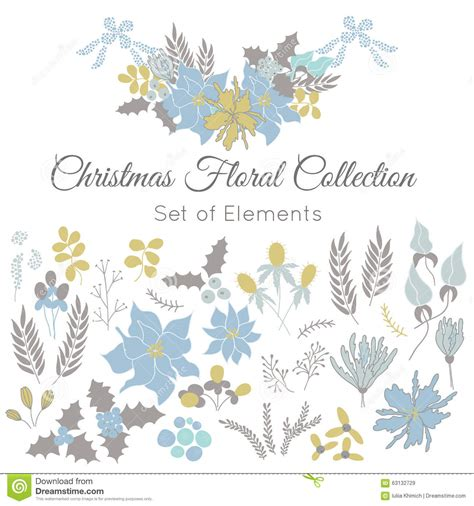 new year flower colors set of floral elements stock vector image