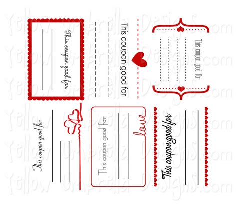 free printable love coupons templates yellow umbrella designs valentine coupons free
