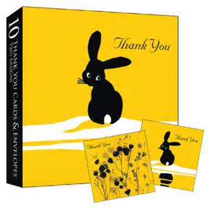 boxed set of 10 thank you notelets bunny rabbit bees and flowers karenza paperie