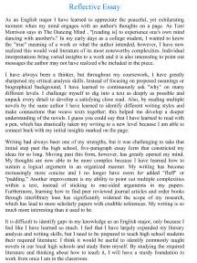 Reflective Writing Essay by Reflective Essay Writing Exles Rubric Topics Outline