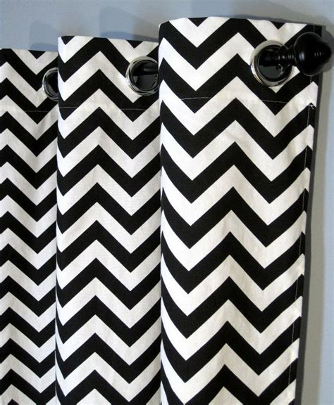 Black And White Chevron Curtains 84 Quot Black And White Zig Zag Curtains With Grommets Two Chevron Curt