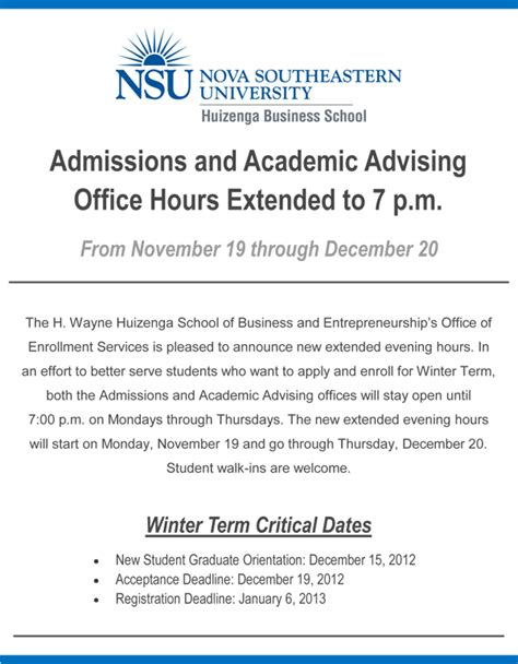 Mba Semester Hours by Business School Extends Admissions And Advising Office