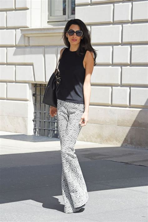 trend watch patterned pants amal clooney stuns in patterned pants picture all of