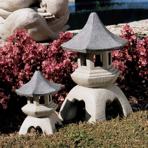 Pagoda Garden Decor Shop Design Toscano Set Of 2 Asian Pagoda Garden Statues At Lowes
