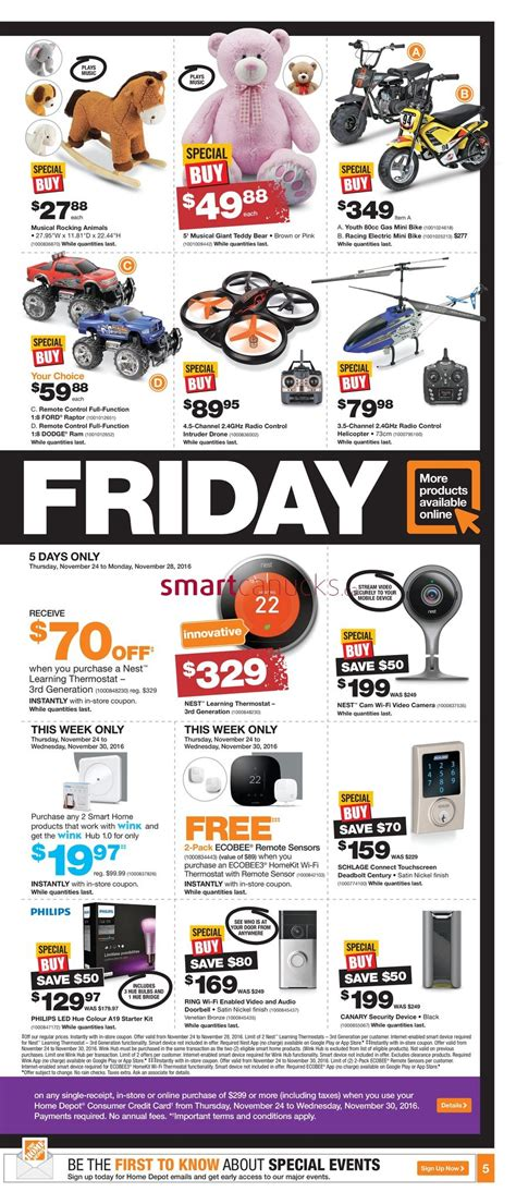 home depot on black friday flyer november 24 to 30 2016