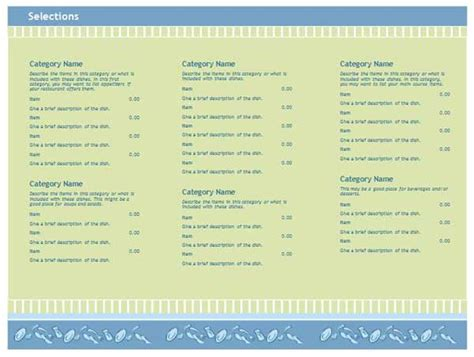 menu template word free menu templates free