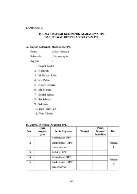 format daftar hadir ppl laporan ppl kkn kependidikan 2014 hermansyah
