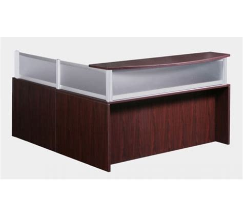 reversible l shaped desk reversible l shape mahogany reception desk with plexi