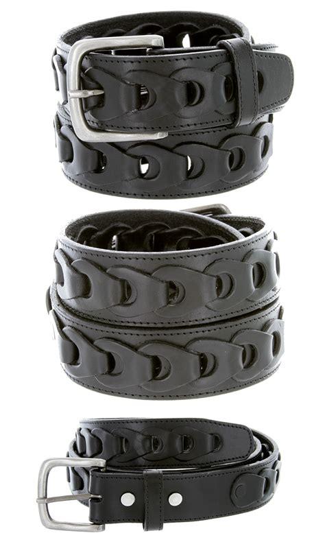 s braided genuine leather casual jean belt black