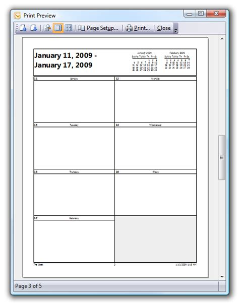 Printable Weekly Outlook Calendar | how to print out blank calendars in outlook 2007