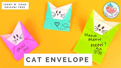 Origami Cat Tutorial - origami cat envelope tutorial 187 origamitree