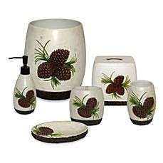 pinecone bathroom accessories pine cone branch bath accessories set bed bath beyond