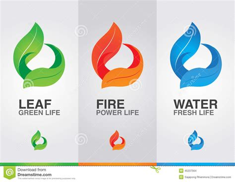 design elements three 3 elements of the world leaf fire water stock photo