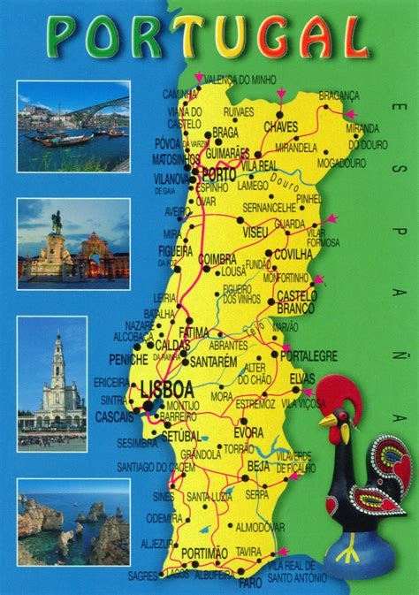 travel map directions large travel map of portugal portugal large travel map