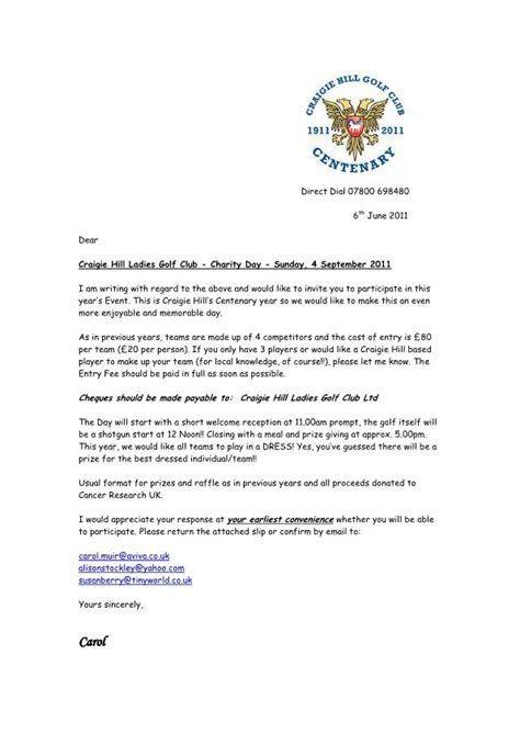 charity invitation letter perth kinross county golf association craigie