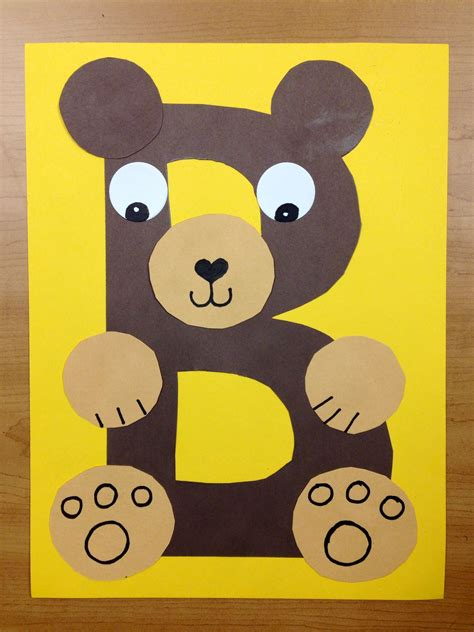 bear pattern for kindergarten b is for bear brown bear preschool alphabet craft