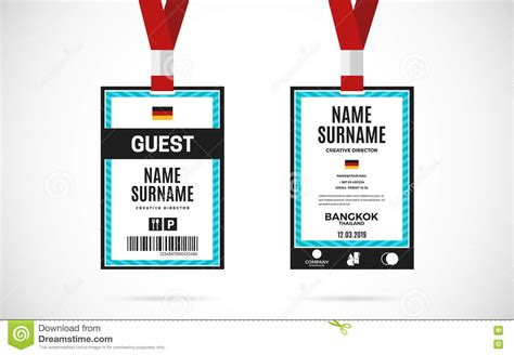 guest pass card template guest id card set vector design illustration