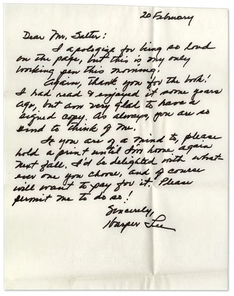Apology Letter For Killing Someone Lot Detail To Kill A Mockingbird Author Autograph Letter Signed I