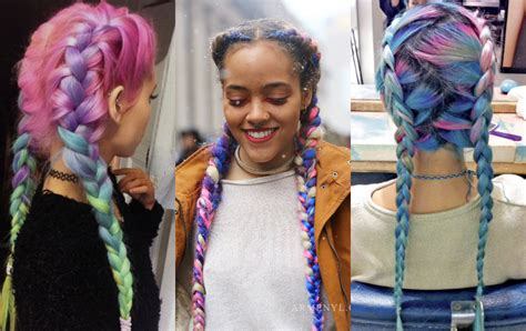 colored for striking multi colored braids hairstyles hairdrome