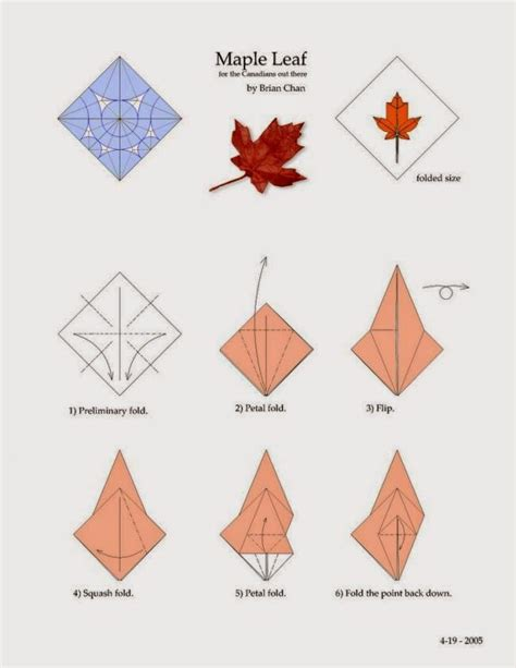 Origami Leaf - maple leaf origami paper origami guide