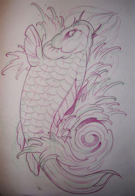 koi tattoo outline japanese koi fish tattoo outline