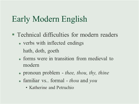 themes in early modern literature shakespeares language presentation english literature