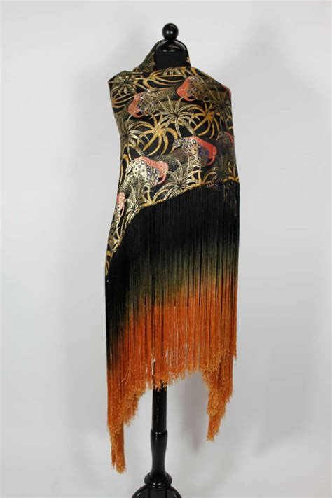 1920s exquisite leopard lam 233 piano shawl with ombre fringe